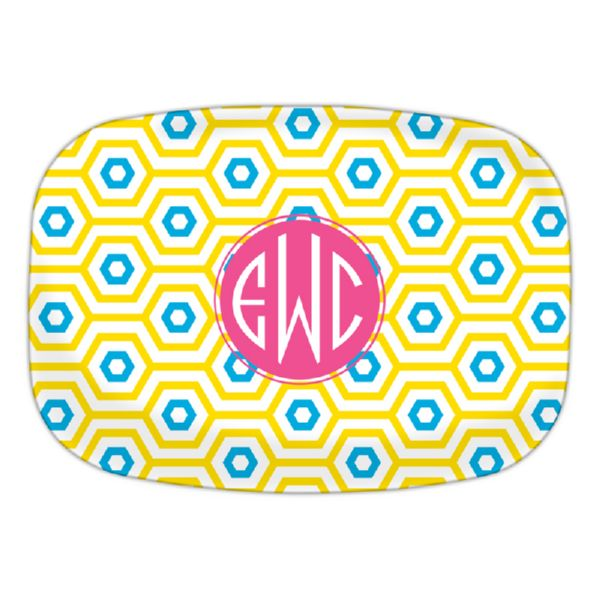 Happy Hexagon Personalized Oval Platter