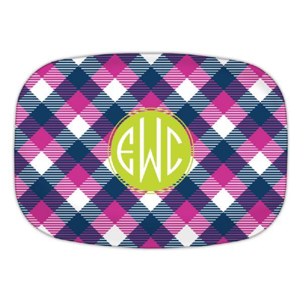 Tartan Personalized Oval Platter