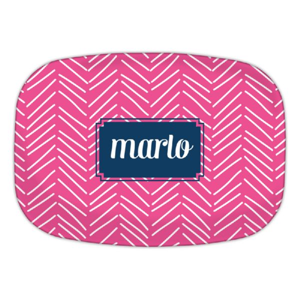 Little Lines Personalized Oval Platter