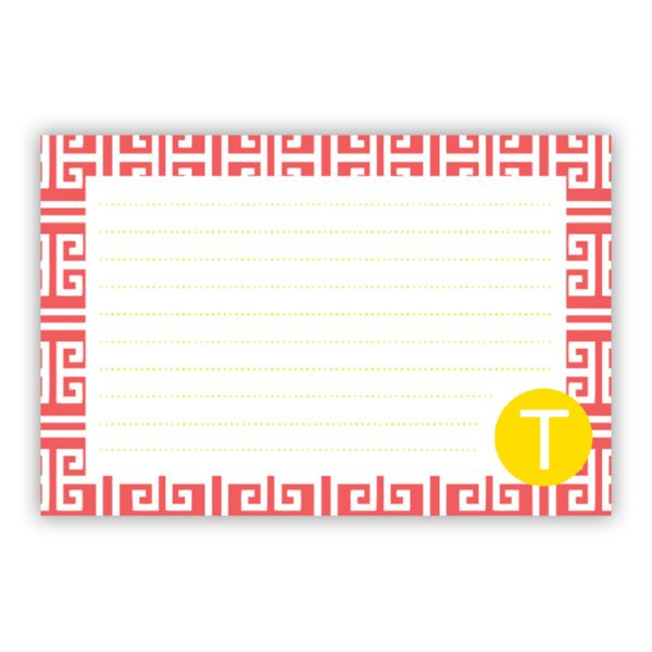 Greek Key Personalized Double-Sided Recipe Cards (Set of 24)