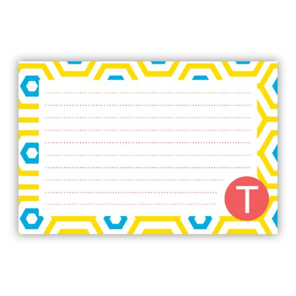 Happy Hexagon Personalized Double-Sided Recipe Cards (Set of 24)