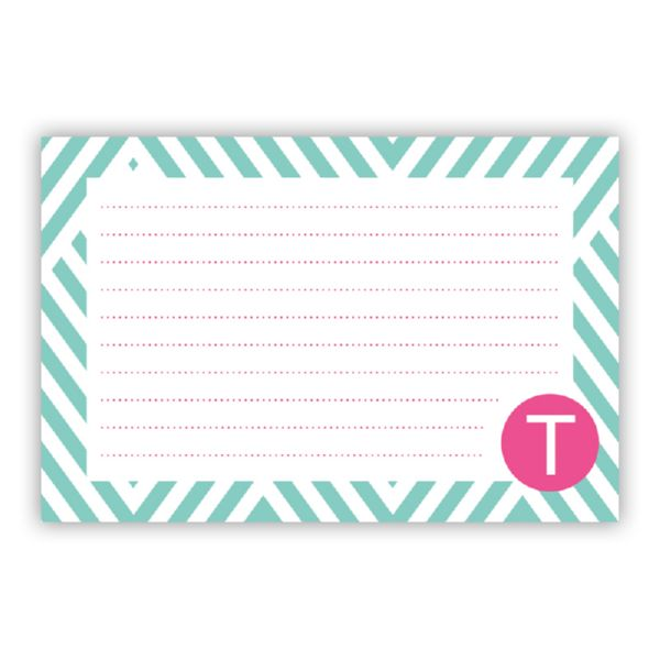 Modern Chevron Personalized Double-Sided Recipe Cards (Set of 24)