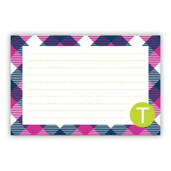 Tartan Personalized Double-Sided Recipe Cards (Set of 24)
