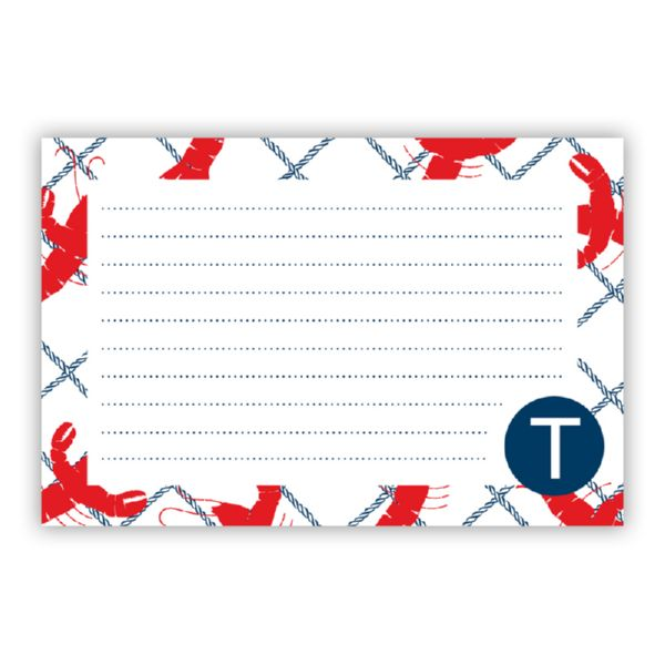 Rock Lobster Personalized Double-Sided Recipe Cards (Set of 24)