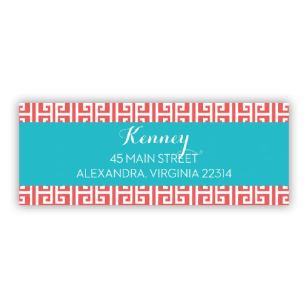 Greek Key Personalized Address Labels (48 labels)