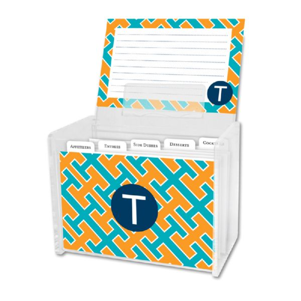Acapulco Personalized Recipe Box with 48 Recipe Cards, Tabs & a Lucite Box