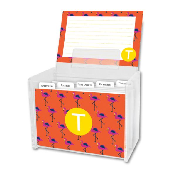 Hadley Personalized Recipe Box with 48 Recipe Cards, Tabs & a Lucite Box