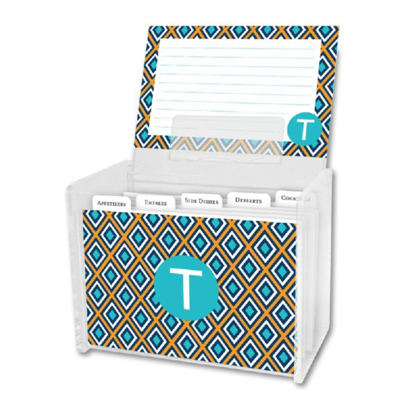 Lantern Personalized Recipe Box with 48 Recipe Cards, Tabs & a Lucite Box
