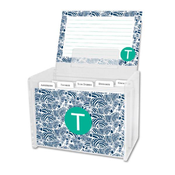Bruno Personalized Recipe Box with 48 Recipe Cards, Tabs & a Lucite Box