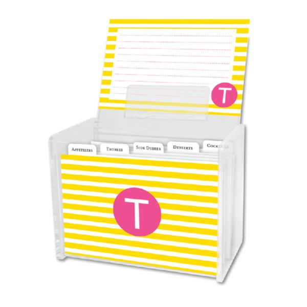 Cabana Personalized Recipe Box with 48 Recipe Cards, Tabs & a Lucite Box