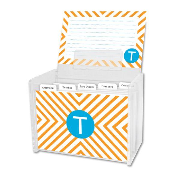 Chevron Personalized Recipe Box with 48 Recipe Cards, Tabs & a Lucite Box