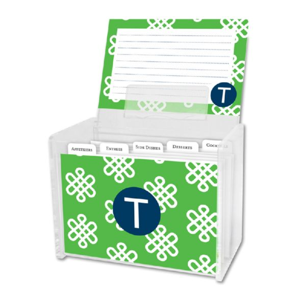 Clementine Personalized Recipe Box with 48 Recipe Cards, Tabs & a Lucite Box