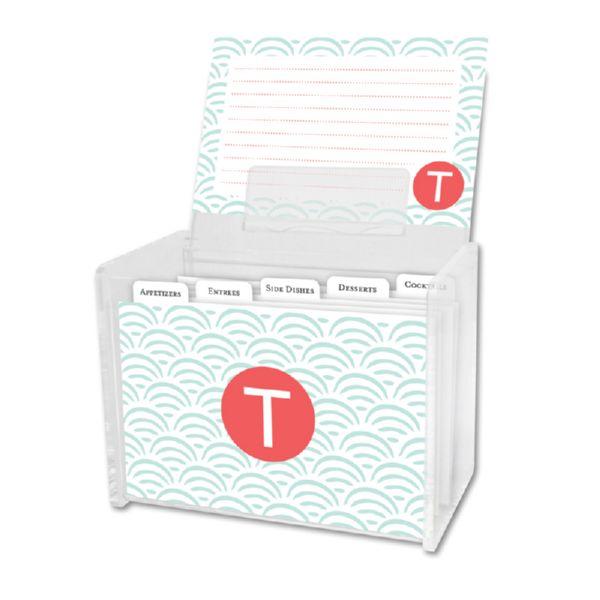 Ella Personalized Recipe Box with 48 Recipe Cards, Tabs & a Lucite Box