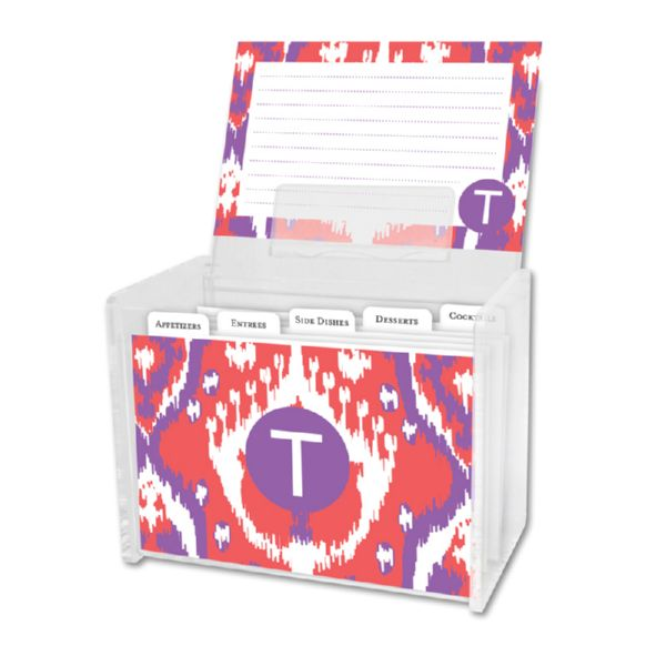 Elsie Personalized Recipe Box with 48 Recipe Cards, Tabs & a Lucite Box