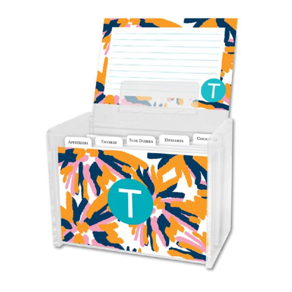 Fireworks Personalized Recipe Box with 48 Recipe Cards, Tabs & a Lucite Box