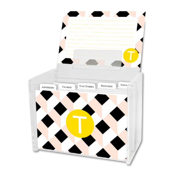Golden Girl Personalized Recipe Box with 48 Recipe Cards, Tabs & a Lucite Box