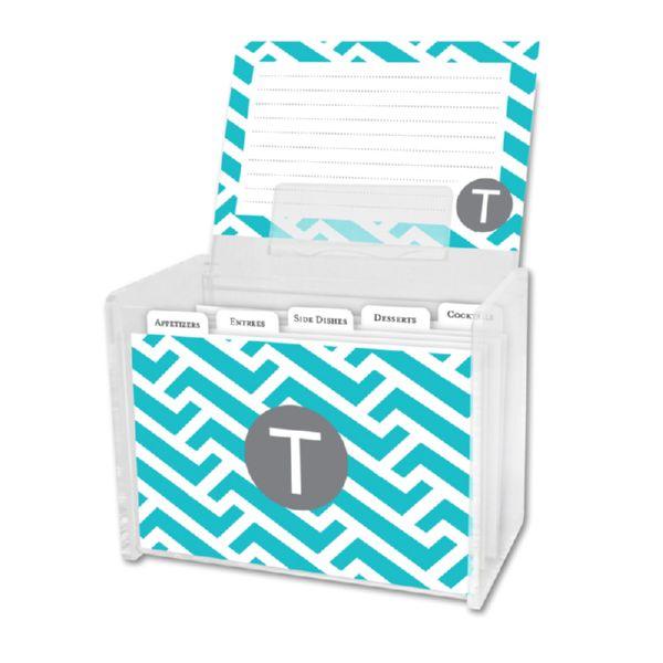Grasshopper Personalized Recipe Box with 48 Recipe Cards, Tabs & a Lucite Box