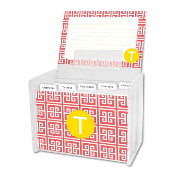 Greek Key Personalized Recipe Box with 48 Recipe Cards, Tabs & a Lucite Box