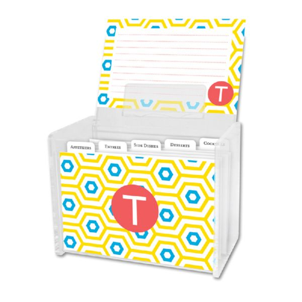 Happy Hexagon Personalized Recipe Box with 48 Recipe Cards, Tabs & a Lucite Box