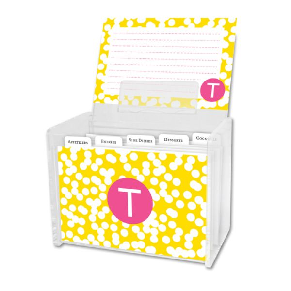 Hole Punch Personalized Recipe Box with 48 Recipe Cards, Tabs & a Lucite Box
