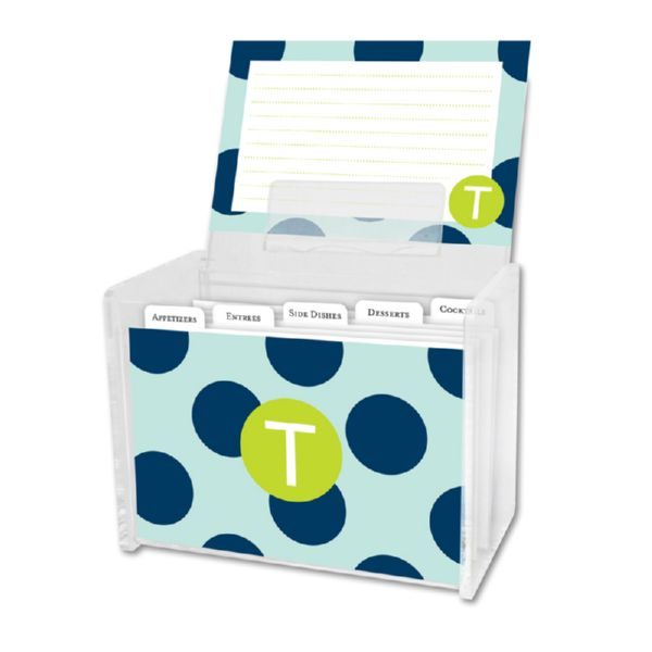 Jane Personalized Recipe Box with 48 Recipe Cards, Tabs & a Lucite Box