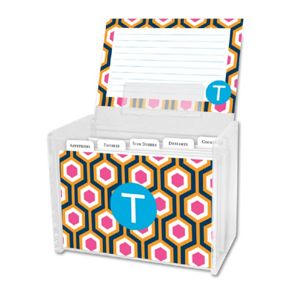 London Calling Personalized Recipe Box with 48 Recipe Cards, Tabs & a Lucite Box