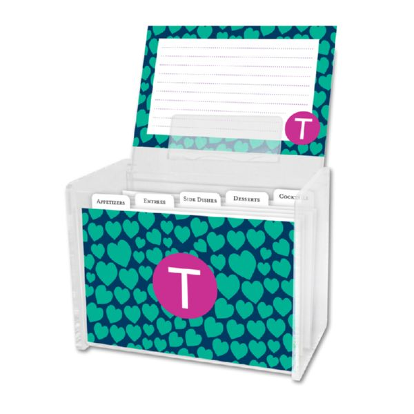 Love Struck Personalized Recipe Box with 48 Recipe Cards, Tabs & a Lucite Box
