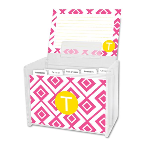 Lucy Personalized Recipe Box with 48 Recipe Cards, Tabs & a Lucite Box