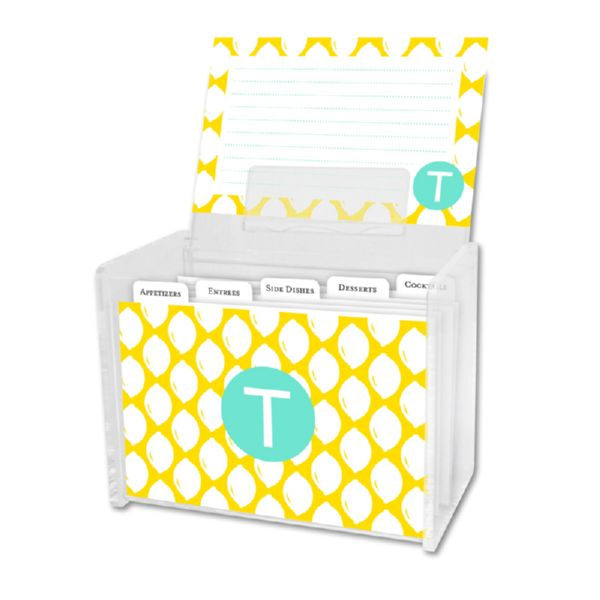 Meyer Personalized Recipe Box with 48 Recipe Cards, Tabs & a Lucite Box