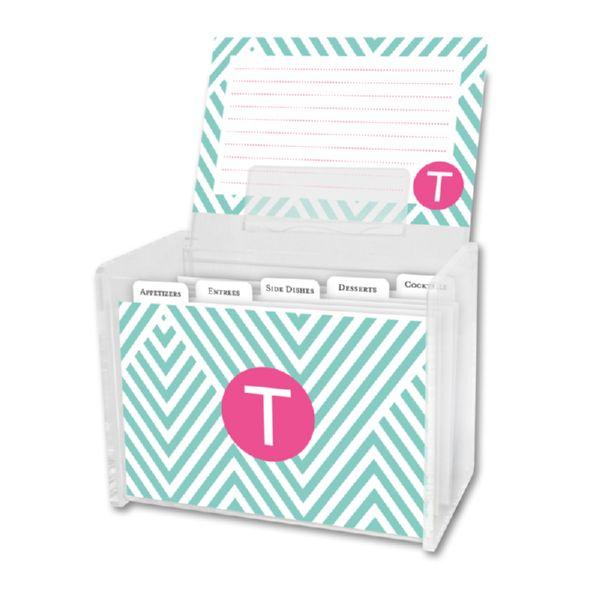 Modern Chevron Personalized Recipe Box with 48 Recipe Cards, Tabs & a Lucite Box