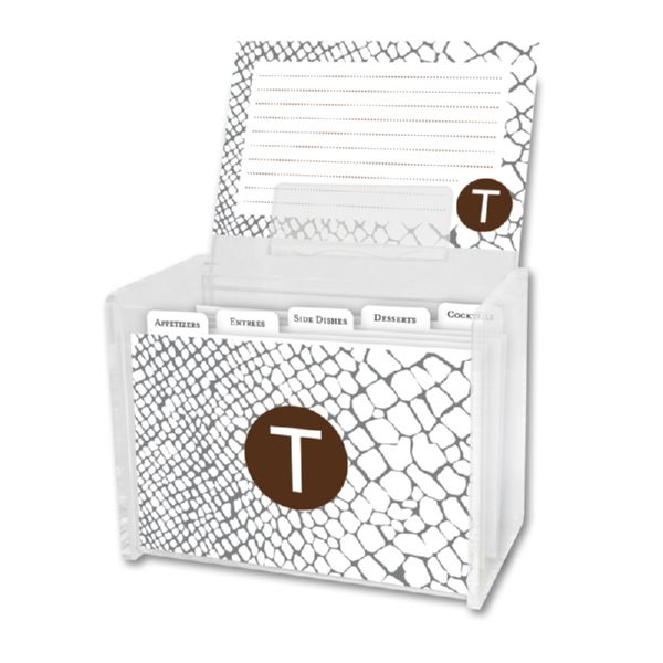 Snakeskin Personalized Recipe Box with 48 Recipe Cards, Tabs & a Lucite Box