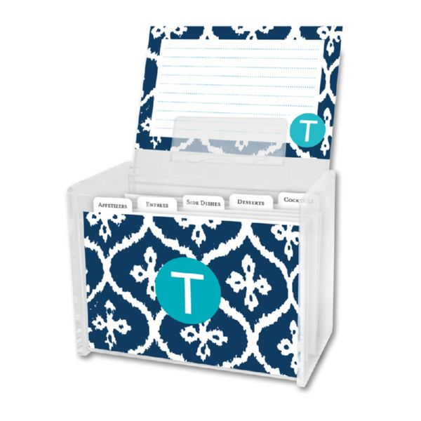 Montauk Personalized Recipe Box with 48 Recipe Cards, Tabs & a Lucite Box