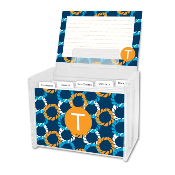 Nautical Knots Personalized Recipe Box with 48 Recipe Cards, Tabs & a Lucite Box