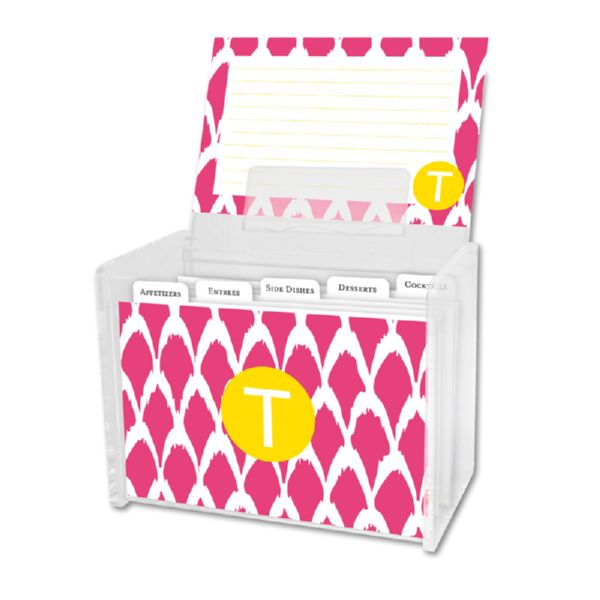 Northfork Personalized Recipe Box with 48 Recipe Cards, Tabs & a Lucite Box