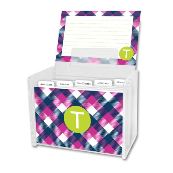 Tartan Personalized Recipe Box with 48 Recipe Cards, Tabs & a Lucite Box