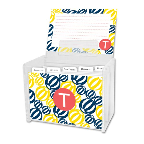 Palm Springs Personalized Recipe Box with 48 Recipe Cards, Tabs & a Lucite Box