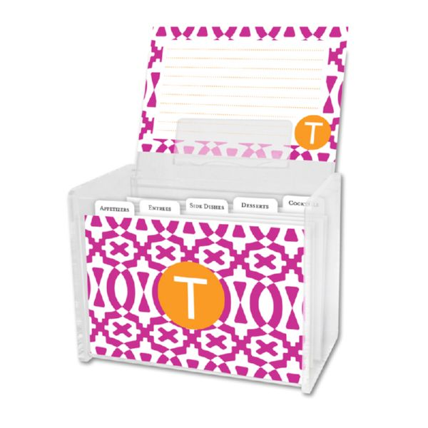 Poppy Personalized Recipe Box with 48 Recipe Cards, Tabs & a Lucite Box