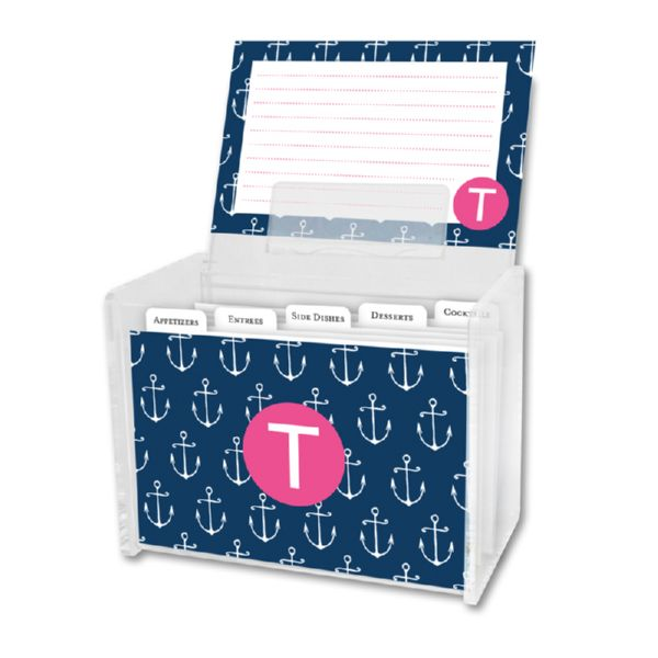 Salty Personalized Recipe Box with 48 Recipe Cards, Tabs & a Lucite Box