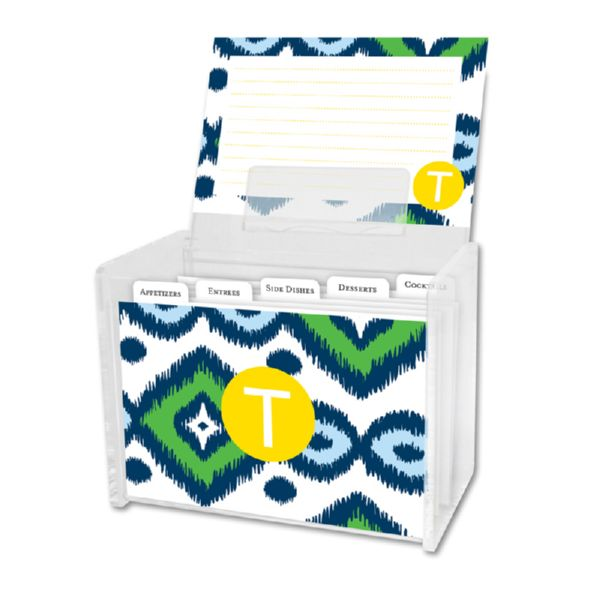 Sunset Beach Personalized Recipe Box with 48 Recipe Cards, Tabs & a Lucite Box