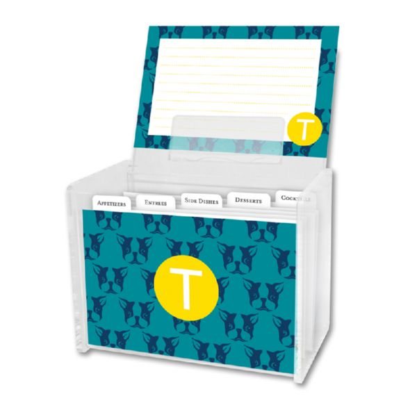 Polly Personalized Recipe Box with 48 Recipe Cards, Tabs & a Lucite Box