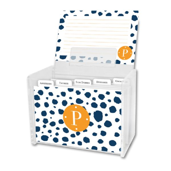 Cheetah Personalized Recipe Box with 48 Recipe Cards, Tabs & a Lucite Box