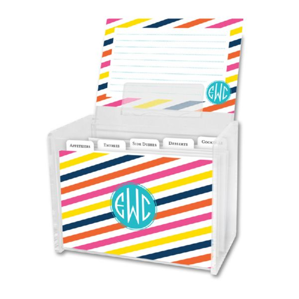 Fruit Stripe Personalized Recipe Box with 48 Recipe Cards, Tabs & a Lucite Box
