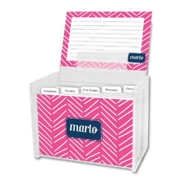 Little Lines Personalized Recipe Box with 48 Recipe Cards, Tabs & a Lucite Box