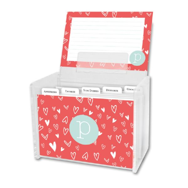 Love It Personalized Recipe Box with 48 Recipe Cards, Tabs & a Lucite Box