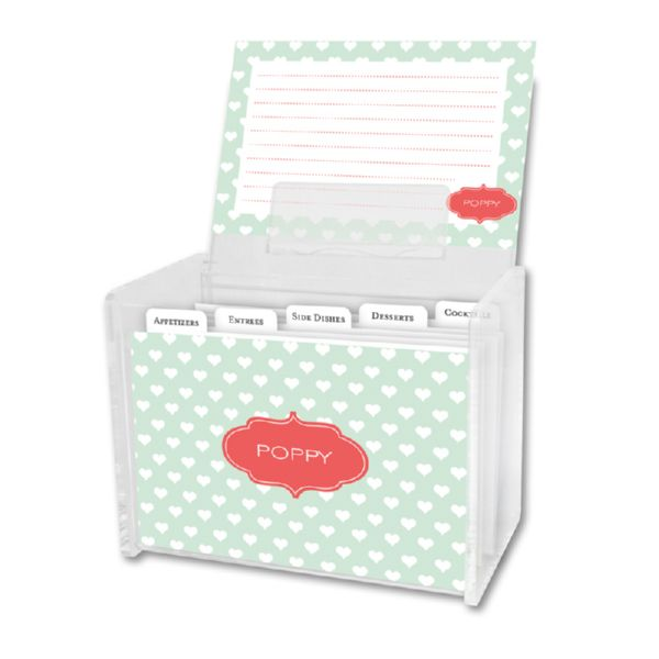 Minnie Personalized Recipe Box with 48 Recipe Cards, Tabs & a Lucite Box