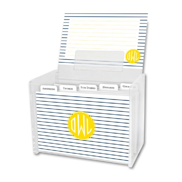 Pinny Personalized Recipe Box with 48 Recipe Cards, Tabs & a Lucite Box