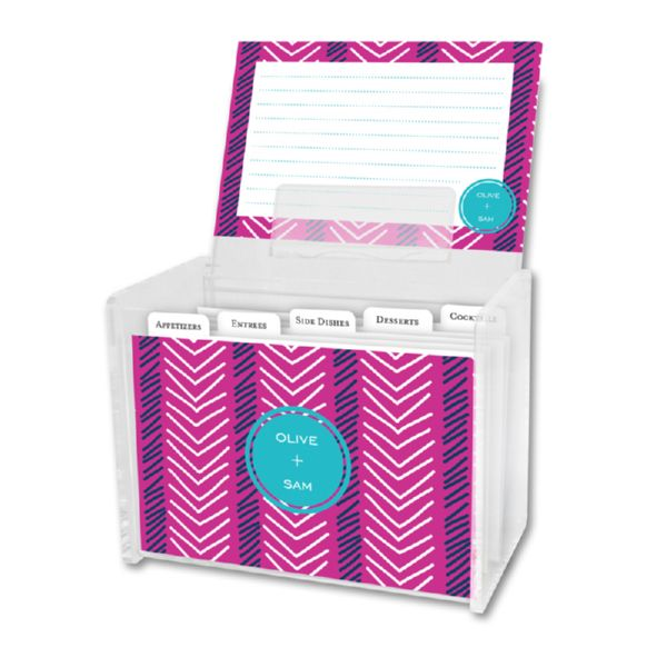 Topstitch Personalized Recipe Box with 48 Recipe Cards, Tabs & a Lucite Box