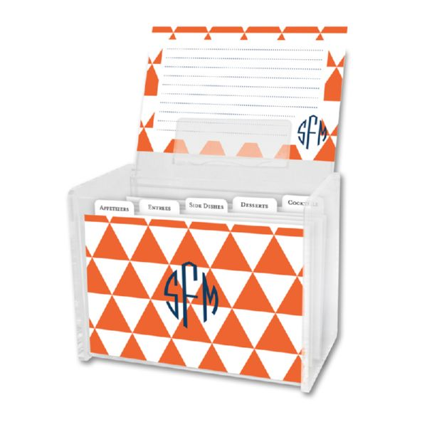Triangles Personalized Recipe Box with 48 Recipe Cards, Tabs & a Lucite Box