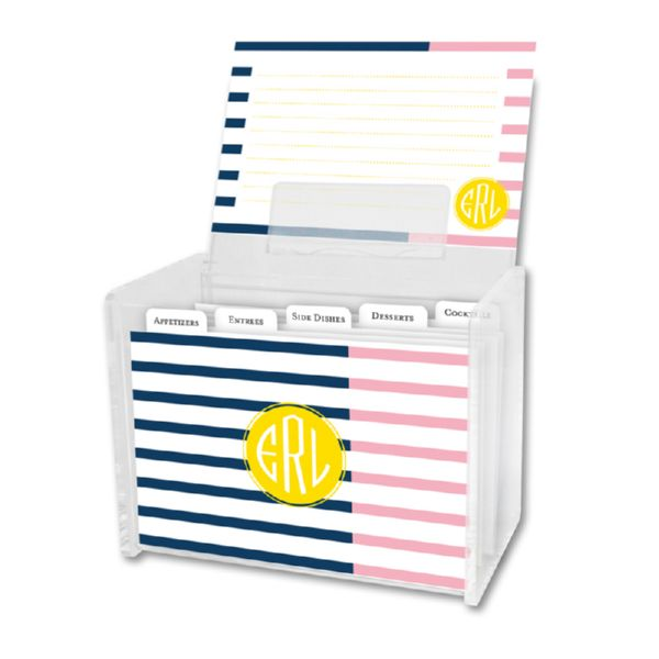 Twice As Nice 3 Personalized Recipe Box with 48 Recipe Cards, Tabs & a Lucite Box