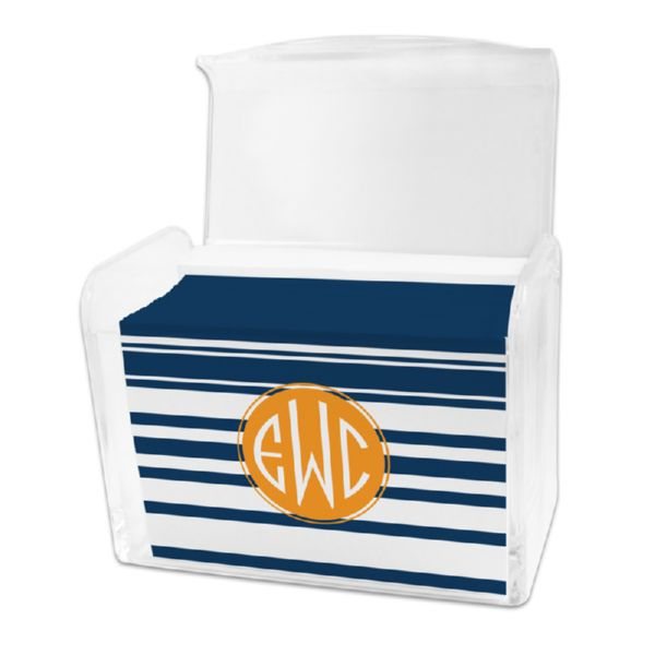 Block Island Personalized Stationery Note Card Set in a Lucite Holder (25 mini folded notes)